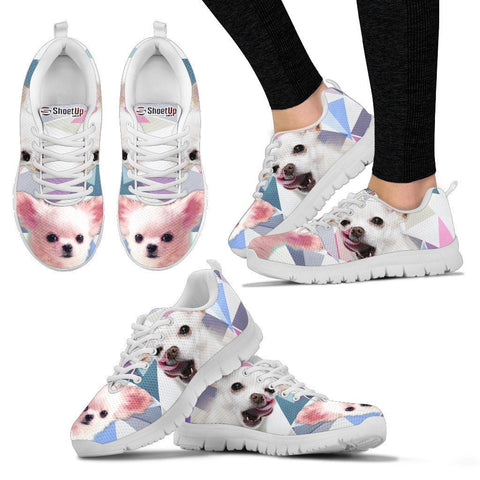 Cute White Chihuahua Print Running Shoes For Women- Free Shipping