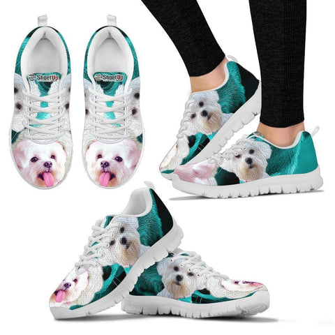 Maltese On Deep Skyblue Print Running Shoes For Women- Free Shipping
