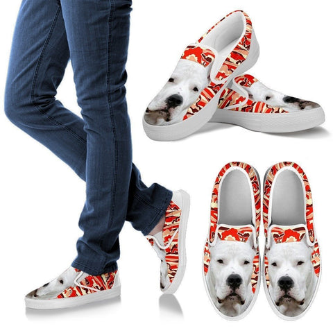 Dogo Argentino Print Slip Ons For Women- Express Shipping