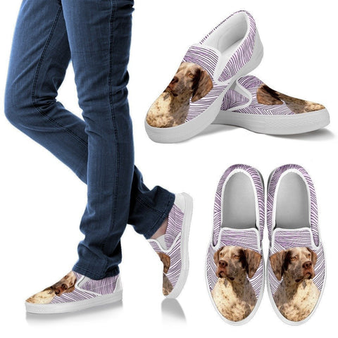 Braque du Bourbonnais Dog Print Slip Ons For Women-Express Shipping