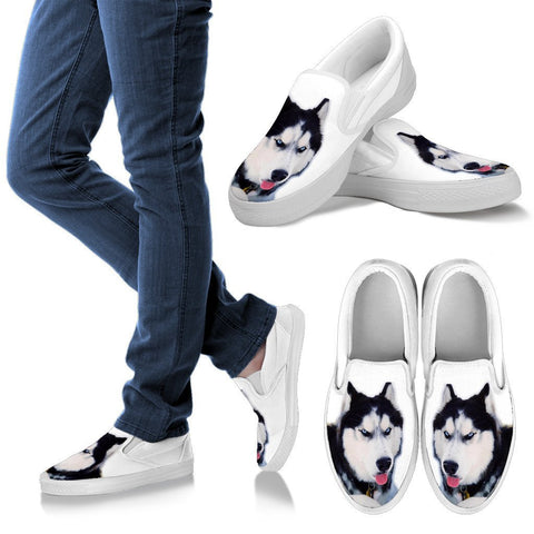 Customized Siberian Husky Print Slip Ons For Women-Free Shipping- (Influencer)