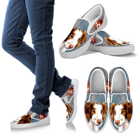 Brittany Dog Print Slip Ons For Women-Express Shipping