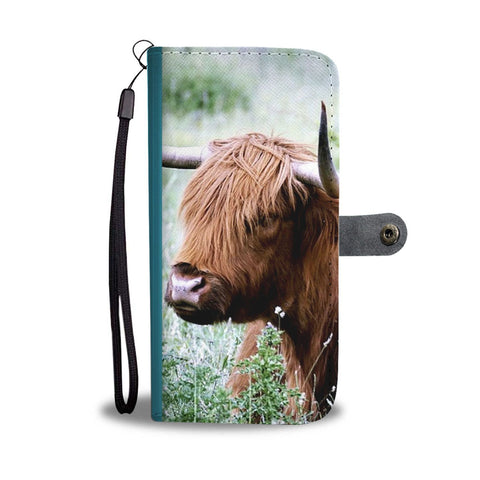 Lovely Highland Cattle Print Wallet Case-Free Shipping