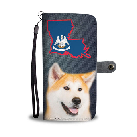 Akita dog Print Wallet Case-Free Shipping-LA State