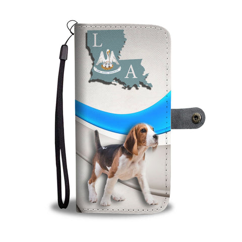 Cute Beagle Dog Print Wallet Case-Free Shipping-LA State