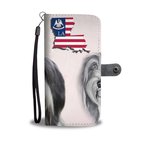 Bearded Collie Print Wallet Case-Free Shipping-LA State