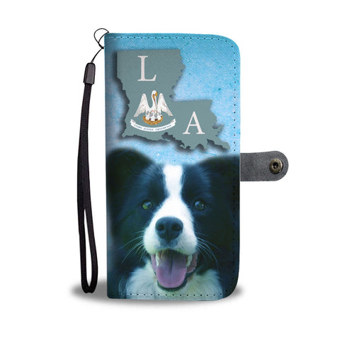 Border Collie Print Wallet Case-Free Shipping-LA State