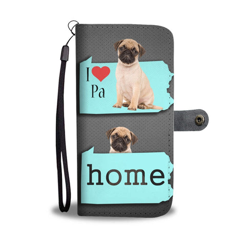 Pug Dog Print Wallet Case-Free Shipping-PA State