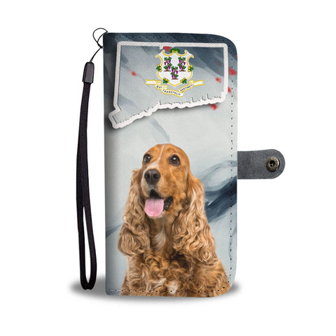 Cocker Spaniel Print Wallet Case-Free Shipping-CT State