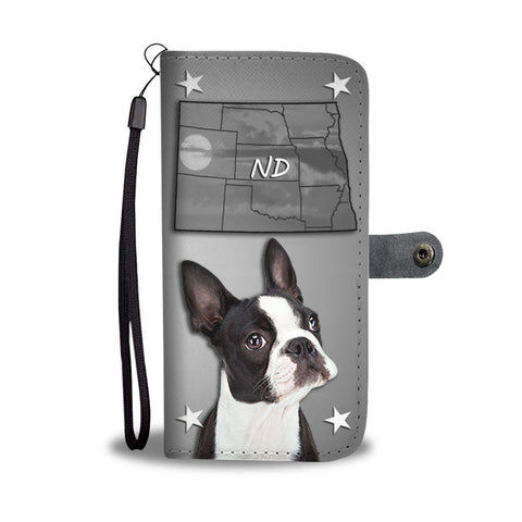 Cute Boston Terrier Print Wallet Case- Free Shipping-ND State