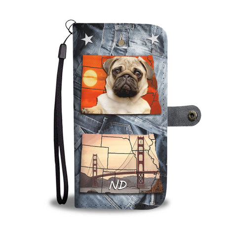 Lovely Pug Print Wallet Case- Free Shipping-ND State