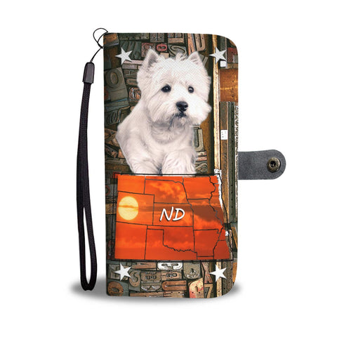 Cute Westie Print Wallet Case-Free Shipping-ND State