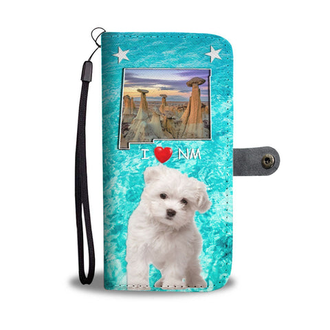 Cute Maltese Dog Print Wallet Case-Free Shipping-NM State