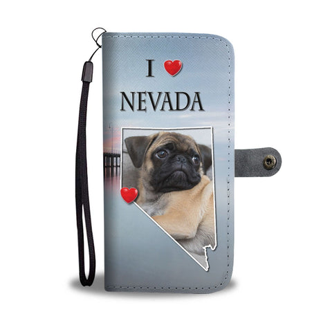 Cute Pug Dog Print Wallet Case-Free Shipping-NV State