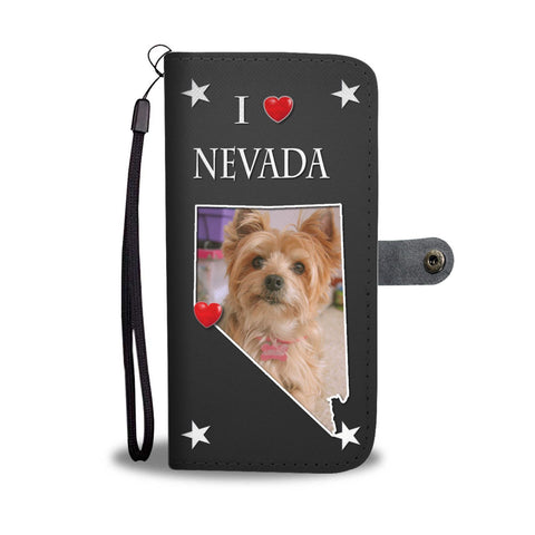 Yorkshire Terrier On Black Print Wallet Case-Free Shipping-NV State