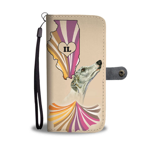 Whippet Dog Print Wallet Case-Free Shipping-IL State
