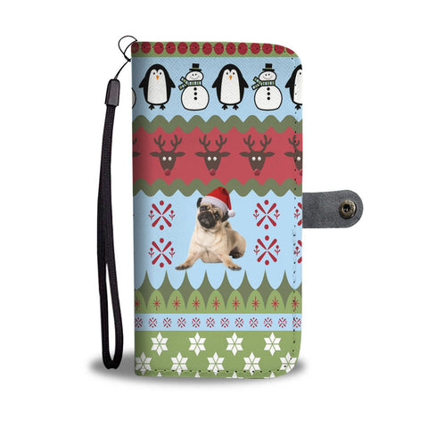 Pug Dog Christmas Print Wallet Case-Free Shipping