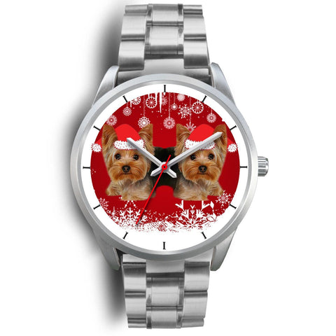 Silver Dial-Yorkshire Terrier (Yorkie) Christmas Print Wrist Watch-Free Shipping