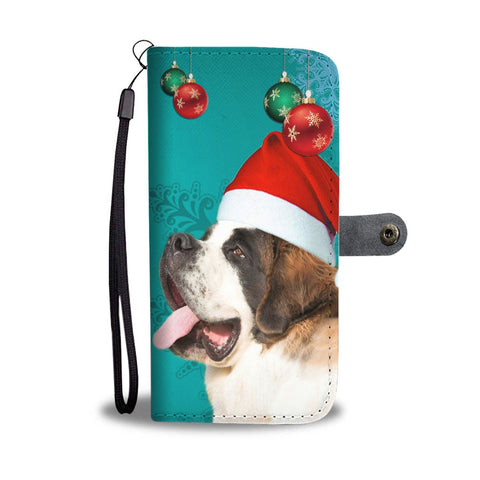 St. Bernard Print On Christmas Wallet Case-Free Shipping