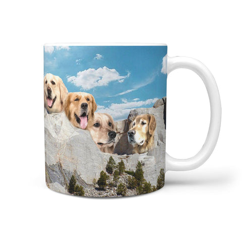 Amazing Golden Retriever Mount Rushmore Print 360 Mug