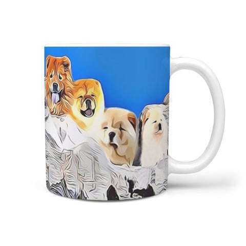 Chow Chow Dog Mount Rushmore Print 360 White Mug