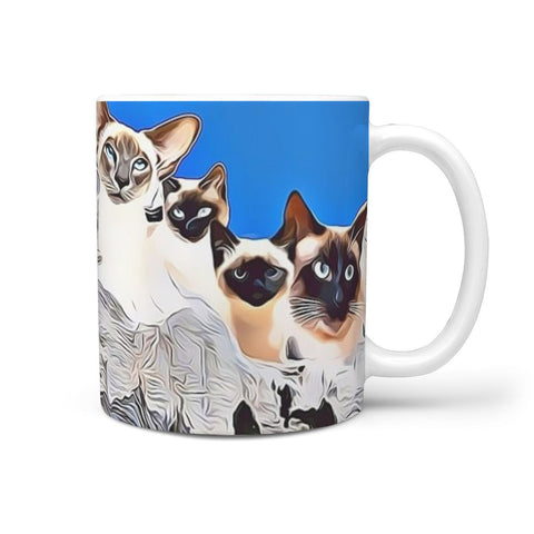 Siamese Cat Mount Rushmore Print 360 White Mug