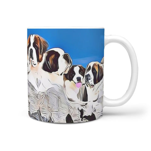 Saint Bernard Dog Mount Rushmore Print 360 White Mug