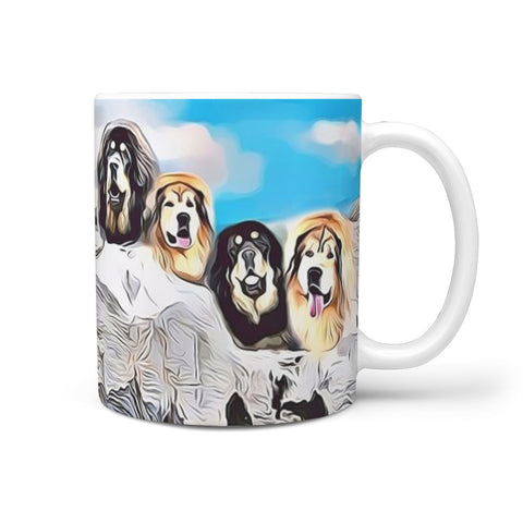 Tibetan Mastiff Dog Mount Rushmore Print 360 White Mug