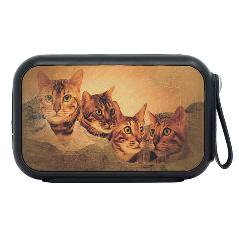 Bangle Cat Vintage Art On Mount Rushmore Print Bluetooth Speaker
