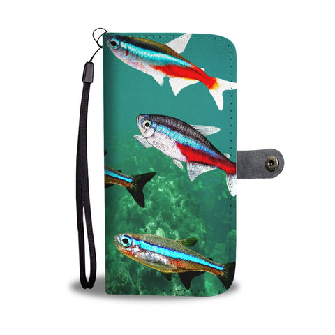 Amazing Neon Tetra Fish Print Wallet Case-Free Shipping