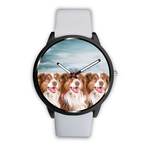 Laughing Australian Shepherd Print Wrist Watch - Free Shipping
