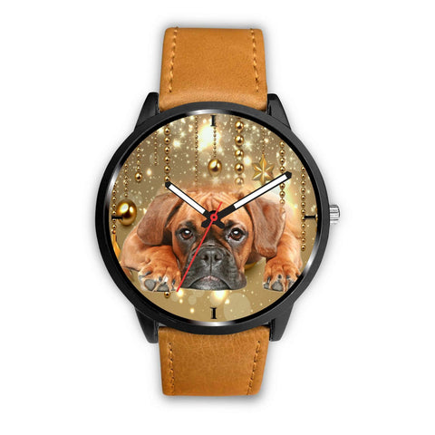 Boxer Dog Golden Print Wrist Watch- Free Shipping