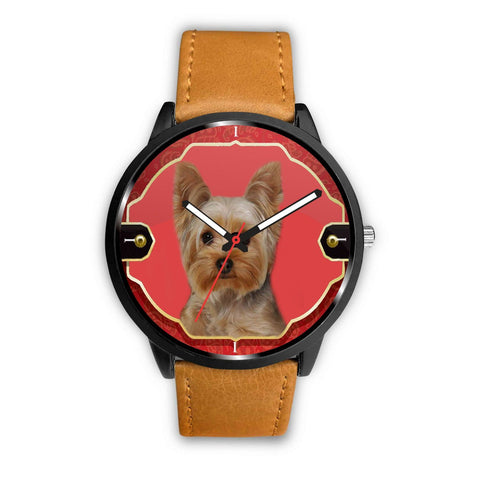 Yorkshire Terrier (Yorkie) Print On Red Wrist Watch-Free Shipping
