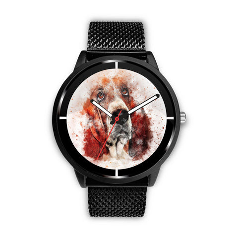 Basset Hound Dog Paint Art Print Wrist Watch - Free Shipping