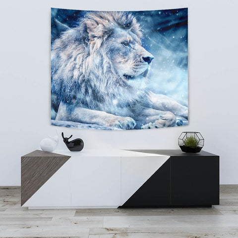 Snowy Lion Print Limited Edition Print Tapestry-Free Shipping