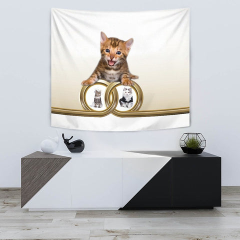 Cute Bengal cat Print Tapestry-Free Shipping