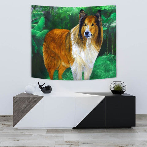 Rough Collie Dog Art Print Tapestry-Free Shipping