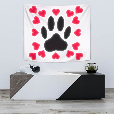 Dog Paws Love Print Tapestry-Free Shipping