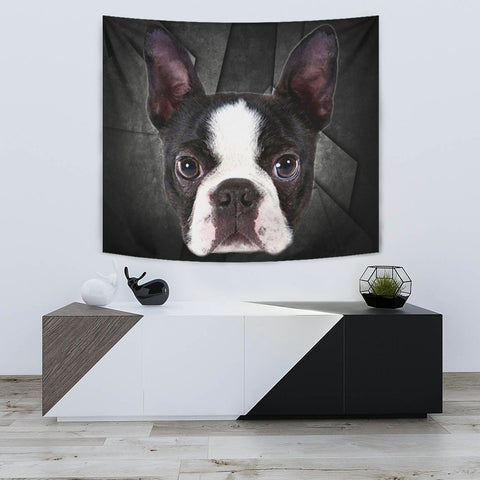Boston Terrier On Black Print Tapestry-Free Shipping