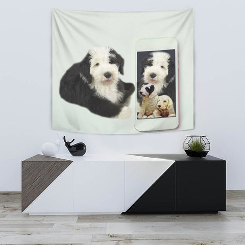 Cute Old English Sheepdog Print Tapestry-Free Shipping