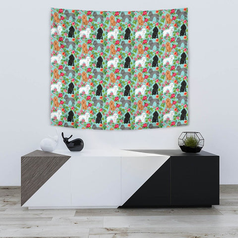 Poodle Dog Floral Print Tapestry-Free Shipping