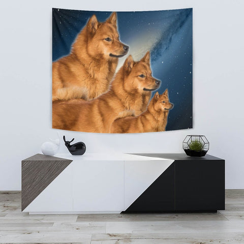 Finnish Spitz Dog On Blue Print Tapestry-Free Shipping