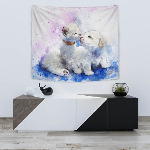 Loving Cat And Dog Art Print Tapestry-Free Shipping