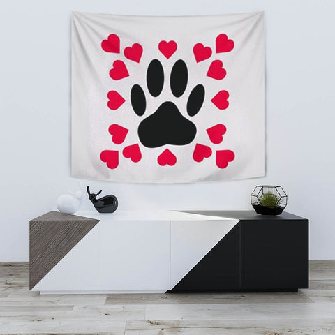 Dog Paws With Love Print Tapestry-Free Shipping