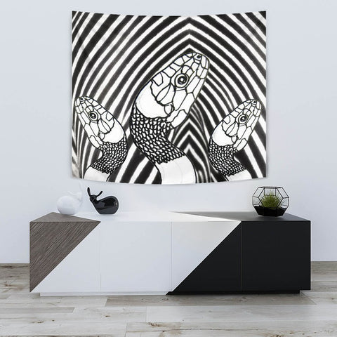 Black & White Snake Print Tapestry-Free Shipping