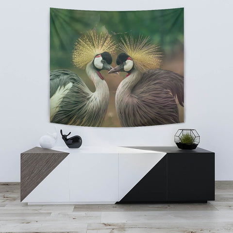 Grey Crowned Crane Bird Print Tapestry-Free Shipping