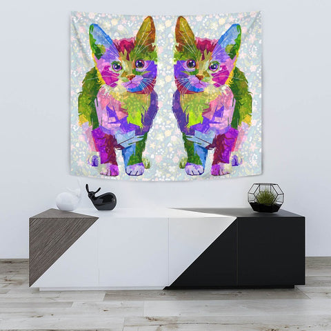 Amazing Cat Color Art Print Tapestry-Free Shipping