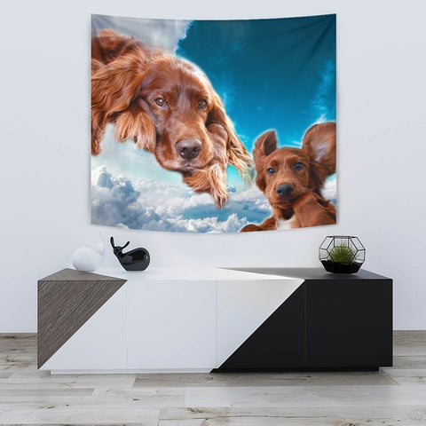 Irish Setter Dog On Blue Print Tapestry-Free Shipping