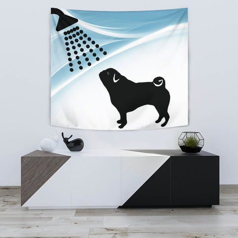 Cute Pug Dog Bath Print Tapestry-Free Shipping