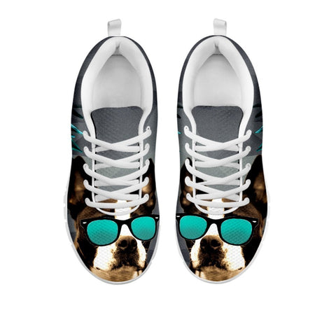 Boston Terrier With Glasses Print Sneakers For Women- Free Shippping-For 24 Hours Only